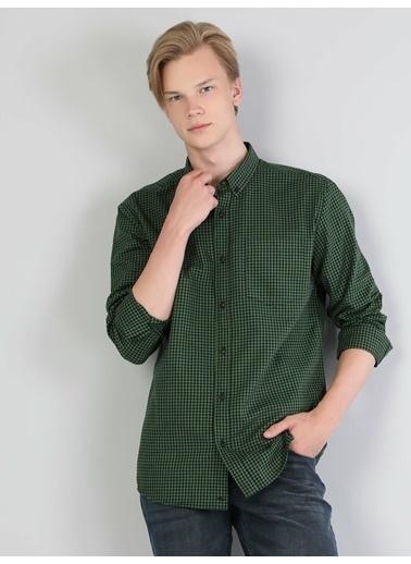 Colin's Slim Fit Erkek Uzun Kol Gömlek Yeşil